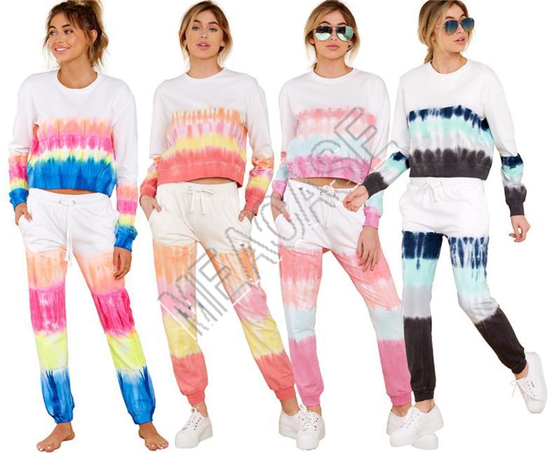 Las mujeres deportes Conjunto de 2 piezas de ropa del tinte del lazo Pullover camiseta pantalones del chándal capucha traje traje pantalón trajes de otoño suéter D81403