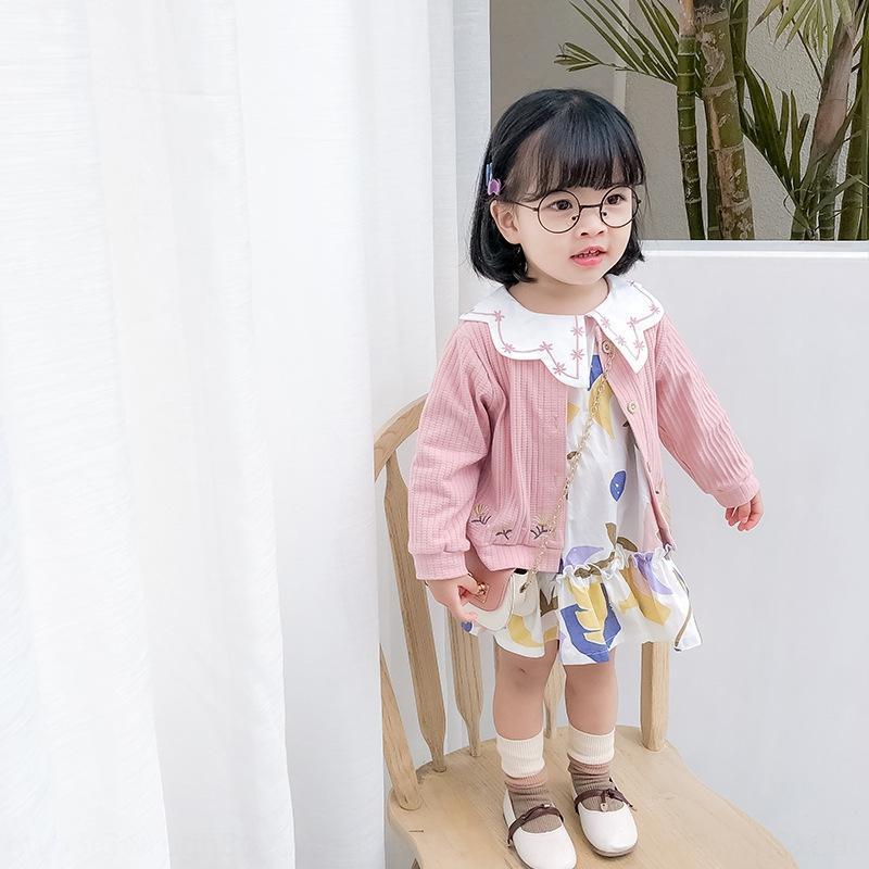 Loisirs vacances de style en deux parties costume filles robe imprimé robe cardigan brodé tricotée deux pièces boutique costume