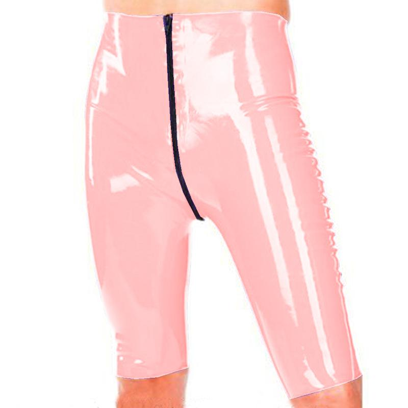 12 colori di alta della vita di lunghezza del ginocchio pantaloni signore bagnato PVC Magro sexy shorts matita apertura sul cavallo e Zipper Pantaloni Nightclub Costume