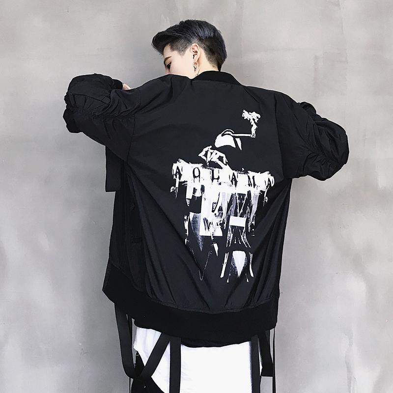 Januarysnow Осень Мужчины черный Ленты Лоскутная Hip Hop Bomber Jacket High Street Punk Flight Pilot Jacket Mens мотоцикла печати Coat