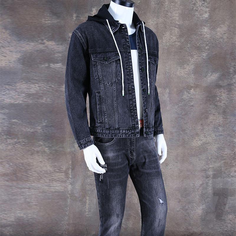 Autumn New hooded denim jacket men's loose youth jacket jacket Korean style trendy fashion all-Match hat trendy