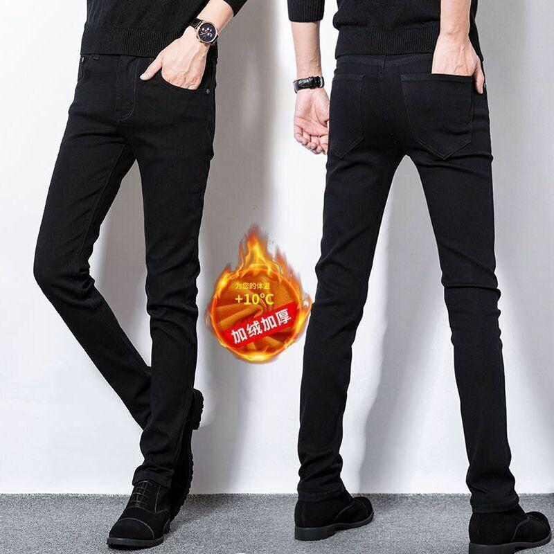 2020 New Brand Jeans Jeans automne hiver chaud flocage doux et chaud hommes Activités molleton pour hommes
