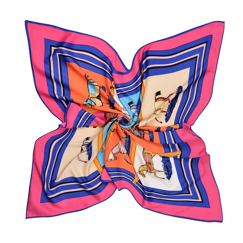 New Twill Silk Scarf Women Design Ten Horse Printing Square Scarves Fashion Shawl&Wraps Female Foulard Kerchief Bandana 100cm*100cm