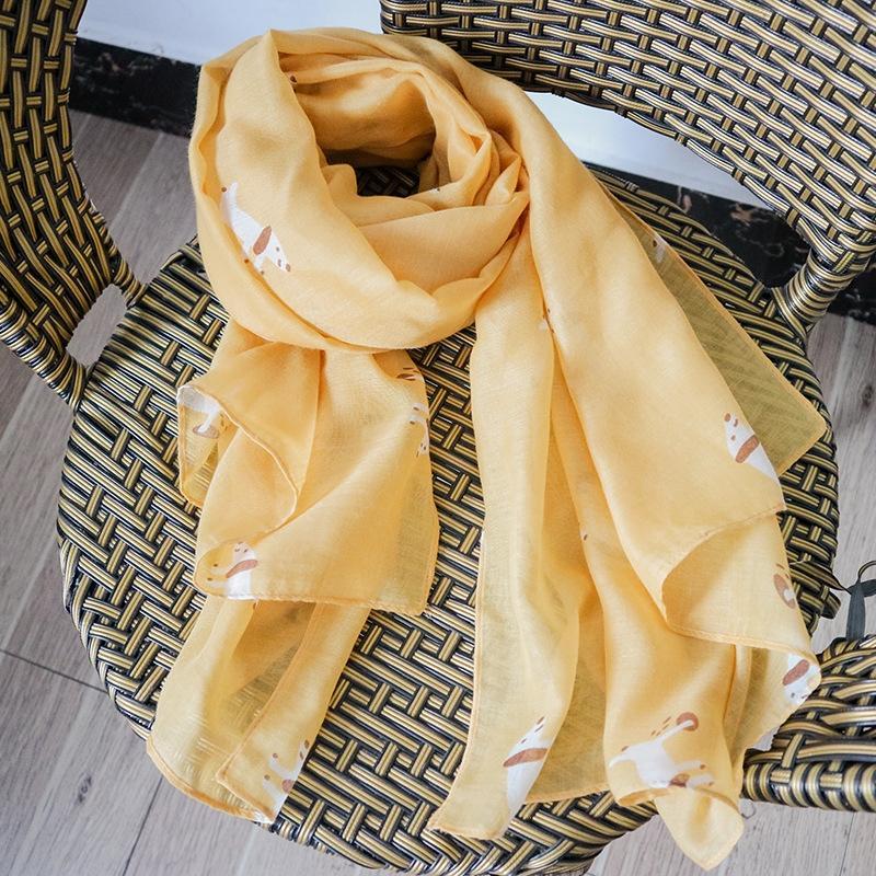Resumen oGr3w bufanda del estilo casual para mujer blanca del resorte de la bufanda Perro algodón y lino verano algodón y lino sensación chal Animal Perro