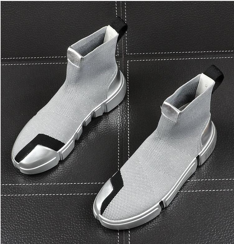 hombre de alta calidad los calcetines zapatillas de deporte de alta masculino encabeza los zapatos que caminan ocasionales de zapatos calzado otoño da53 zapato, oro, plata