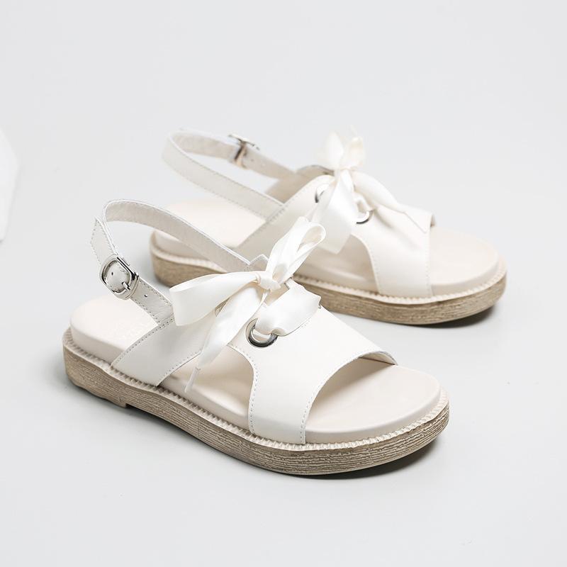 Laasimi Kadın Yaz Gerçek Deri Flats Sandalet İçin Kadın Platformu Katı Ayakkabı Kadın Casual Öğrenci Ayakkabı Tatlı Slaytlar