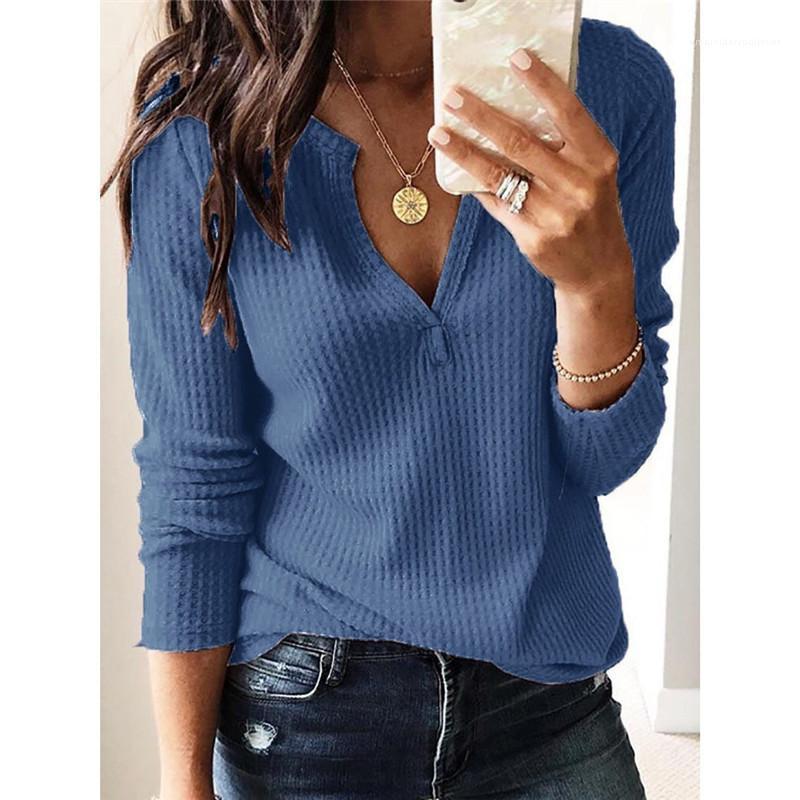Uzun Kollu Casual Tişörtlü Yaz Moda Gevşek Kadın Tasarımcı Kadın Giyim Katı V Boyun Tops