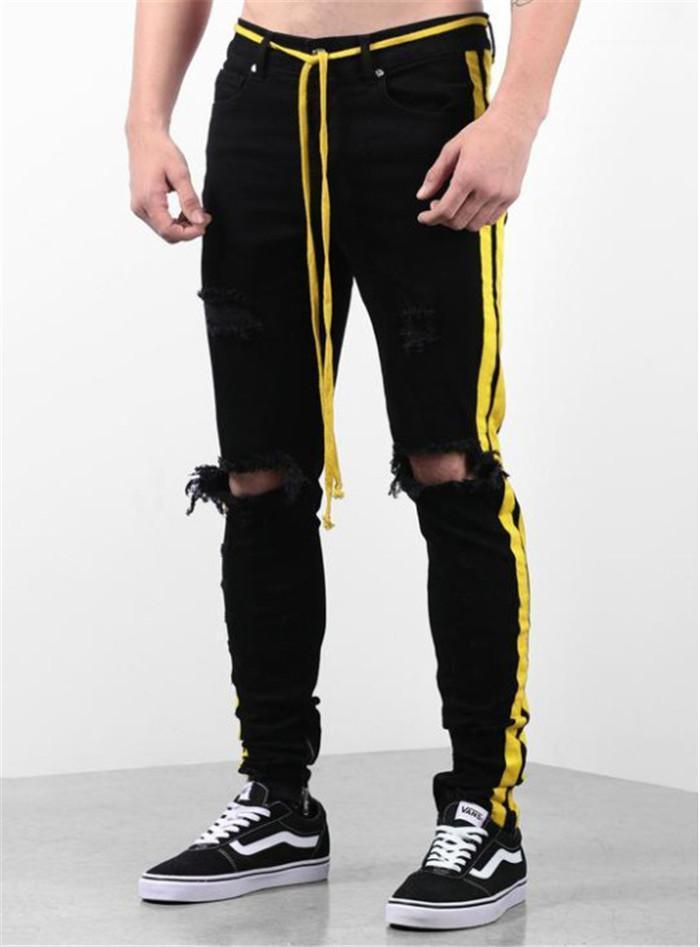 Tasarımcı Sert Jeans Kemer Düşük Bel Günlük Günlük Stil Pileli Çizgili İnce Pantolon Erkek Giyim İnce
