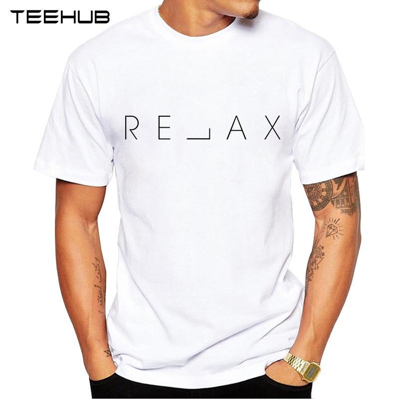 TEEHUB los hombres de la nueva manera de relajarse Diseño de manga corta camiseta fresca Palabras tapas impresas inconformista Tee Shirts