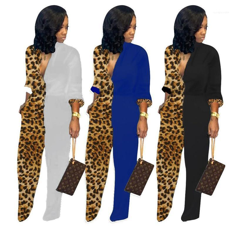 Tasarımcı Tulumlar Moda Standı Yaka Uzun Kollu Düz Geniş Bacak tulum Casual Kadınlar Cothing Kadınlar Leopar
