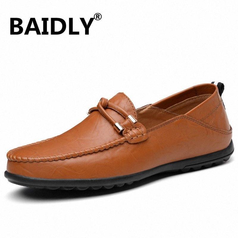 Sapatos Masculinos Homens Moda Loafers Primavera Outono Mocassins homens andando sapatos de couro Mens Flats VT98 #