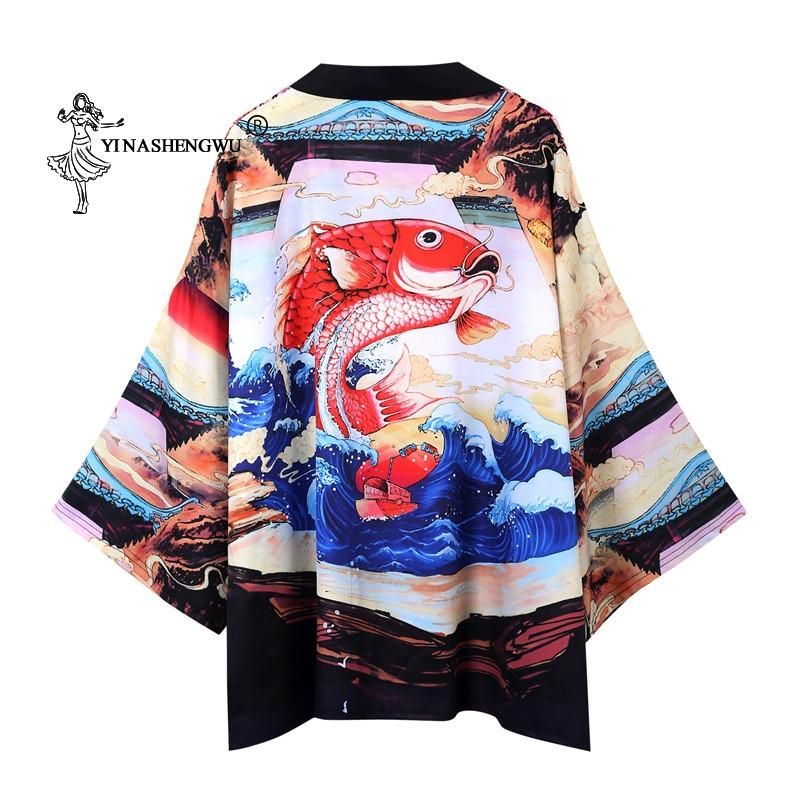 Cosplay Yukata Mulheres Kimono Cardigan Men Japanese Kimono Tradicional shirt chinês Estilo Male Dragão Carp Imprimir Brasão