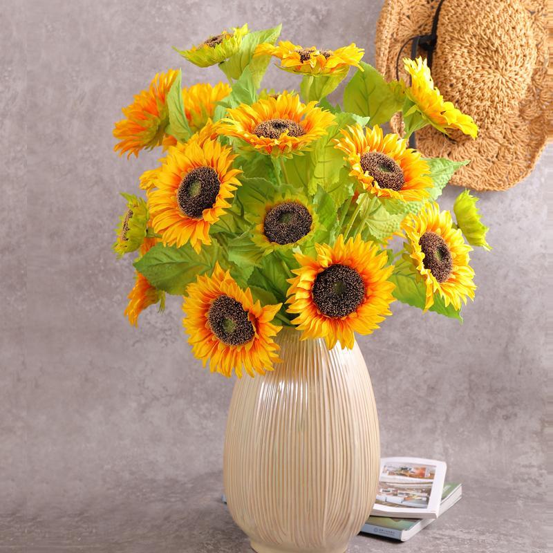 Partido Home 80 centímetros de alta qualidade Girassóis Artificial flores Bouquet de seda amarelo filial flor Wedding Photography Decor adereços Vaso arranjo