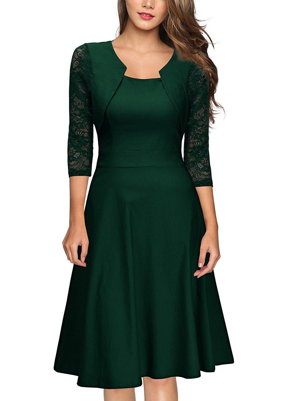 2020 del nuevo cordón costura otoño vestido delgado de moda de alta gama de tres cuartos de la manga