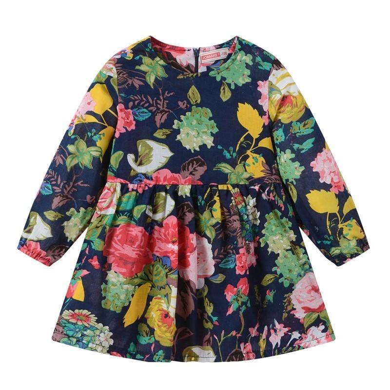 Excelent Просвет Новые летние Babys DressToddler Baby Дети девочки с длинным рукавом Цветочные печати Zipper принцессы Платья Одежда Z0207