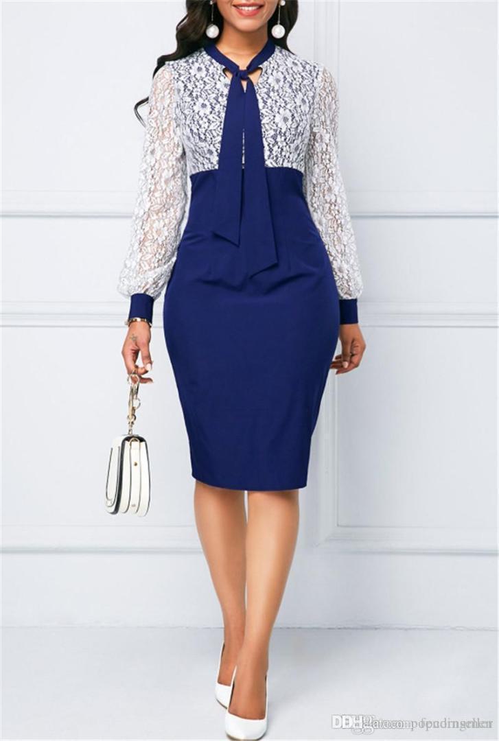 Travail en dentelle couleur unie Bureau élégante robe à manches longues Designer dames Nouveau style de vêtements femmes robe de mode