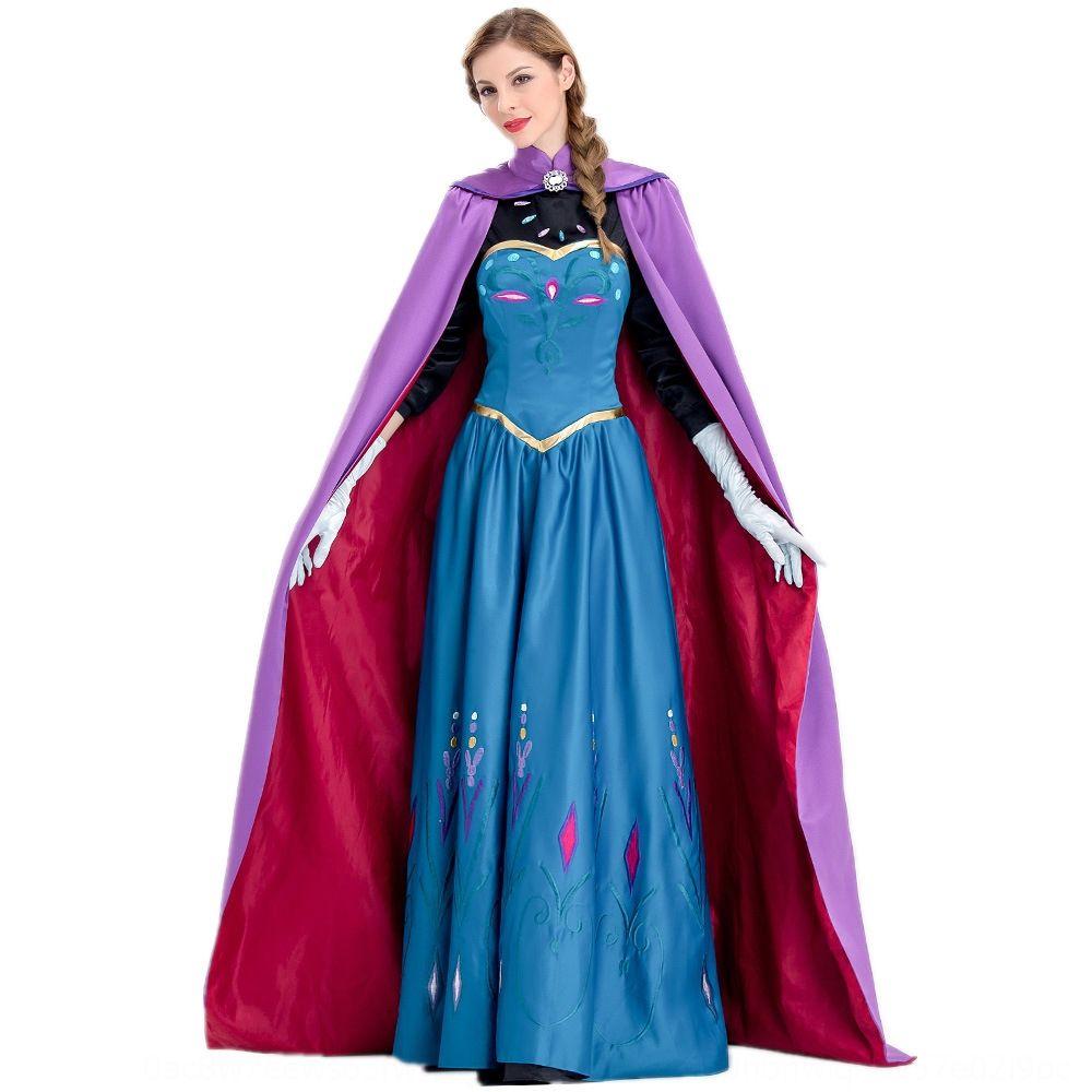 JlxyM traje de la reina ropa traje adulto de larga capa princesa Capa de fiesta cosplay del vestido de Anna vestido universal de Anna