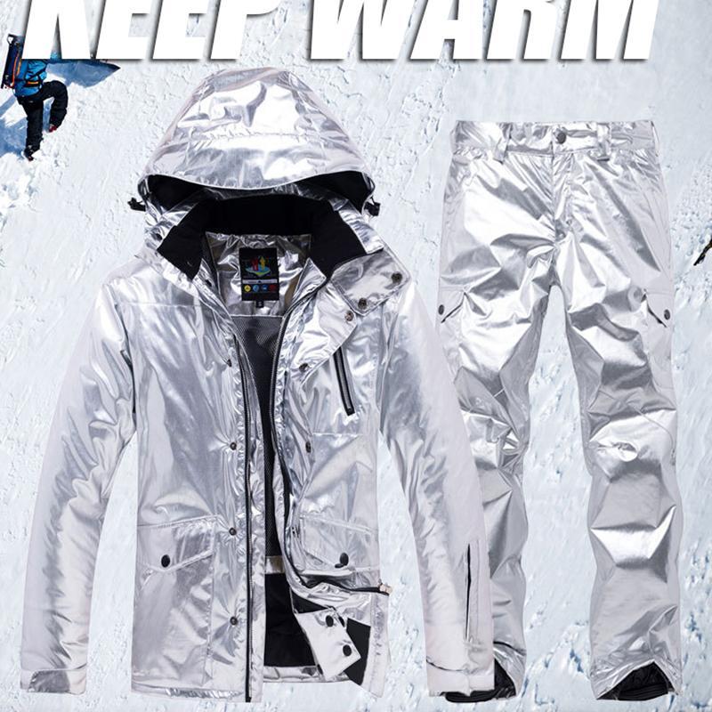 Fashion Silver Snowboard Jacket Men Windproof Waterproof Keep Warm Ski Suit Women Couple Outdoor Sport Snow Jackets and Pants