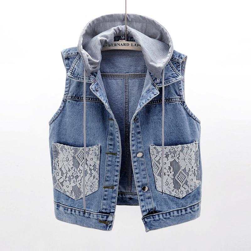 tamanho verão Além disso 5XL removível com capuz Denim Vest Mulheres Colete Lace Splice bolso mangas Jacket feminino curto Jeans Coletes