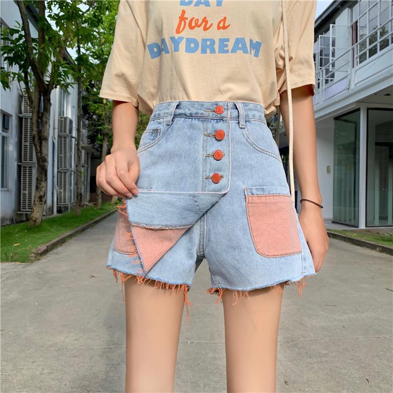 Frauen Jeans 2021 Sommer Denim Shorts Rock Weibliche Streetwear Hohe Taille Lose Wide Bein ausgefranst Einreiher Patchwork Tasche