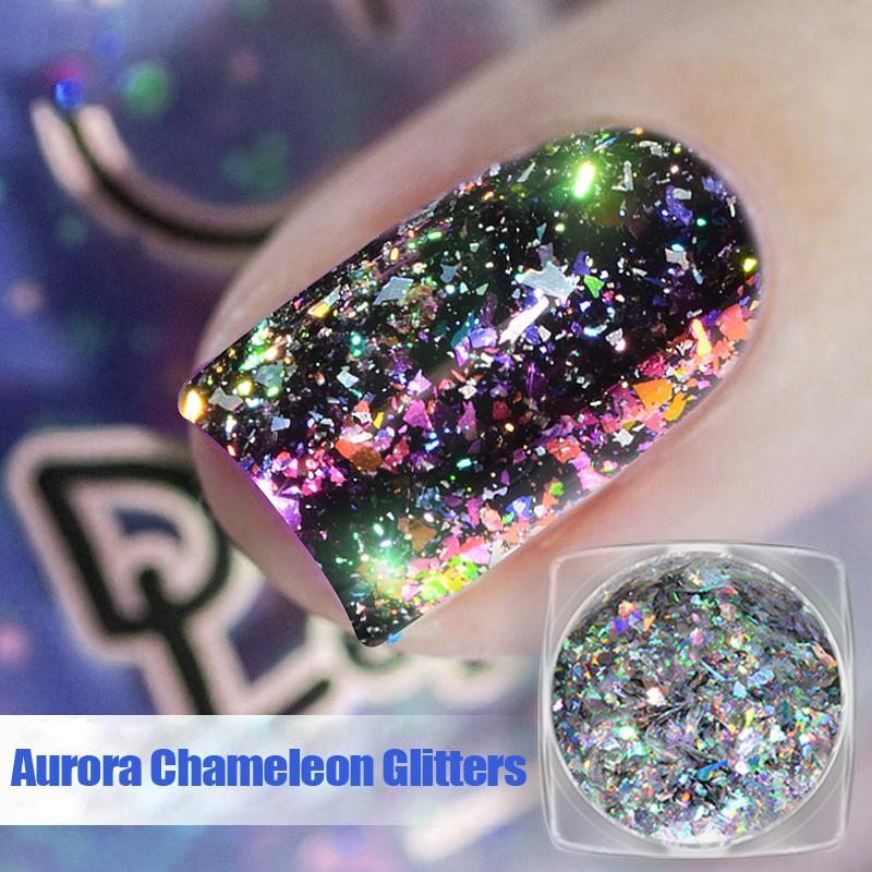Новое поступление Aurora Chameleon Nail Glitter Sequins Flishes 0.2G Голографический сияющий ногтей арт порошок пыль ослепительные украшения для ногтей