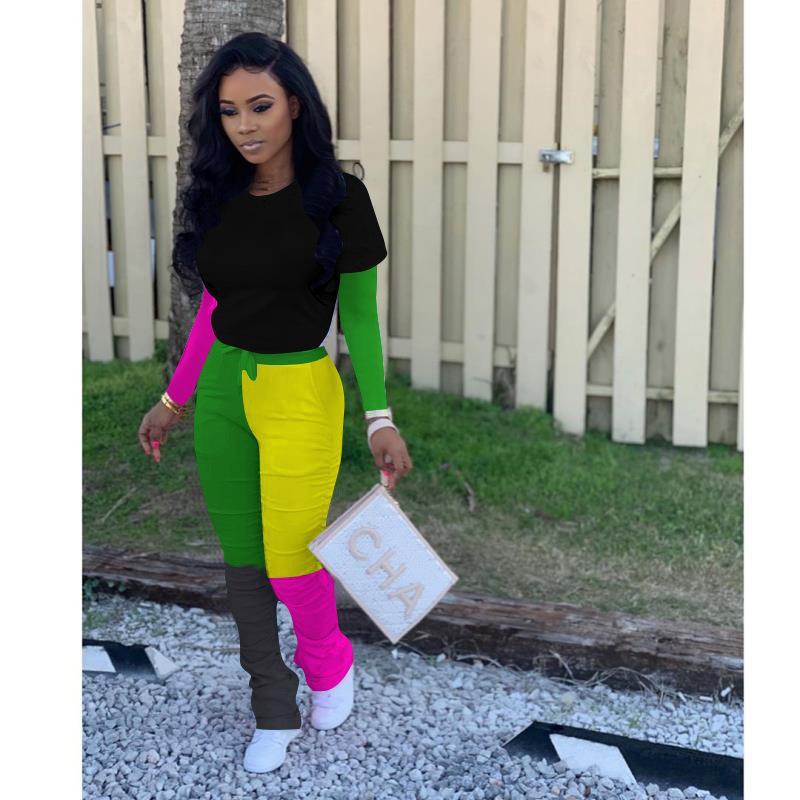 다채로운 패널로 의류 정장 가짜 두 O-목 t- 셔츠 슬림핏 바지 Famale 두 조각 바지 여자