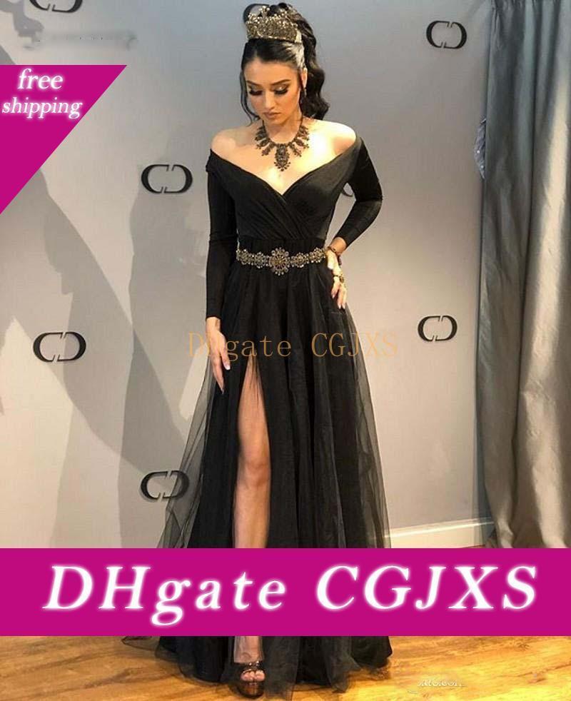 Черный Вечерние платья с длинными рукавами с плеча Формальные Длинные платья Sexy Side Разрез платья Araboc Женщины Robe Тюль Платье Лонго De Fest