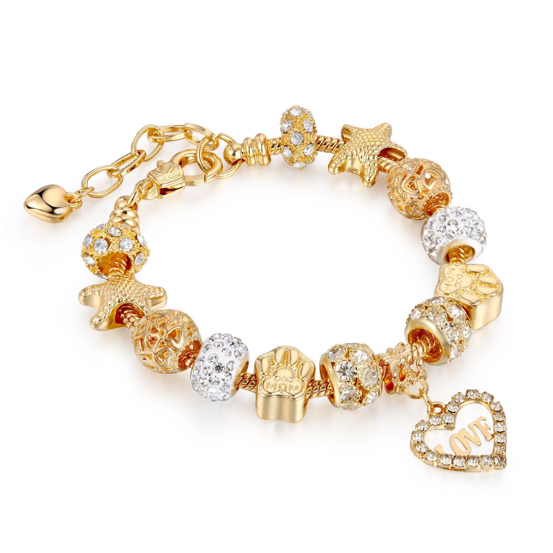 Золото Любовь Кристалл Подвески для ювелирных изделий Pandora Браслеты Женщины моды Валентина подарок