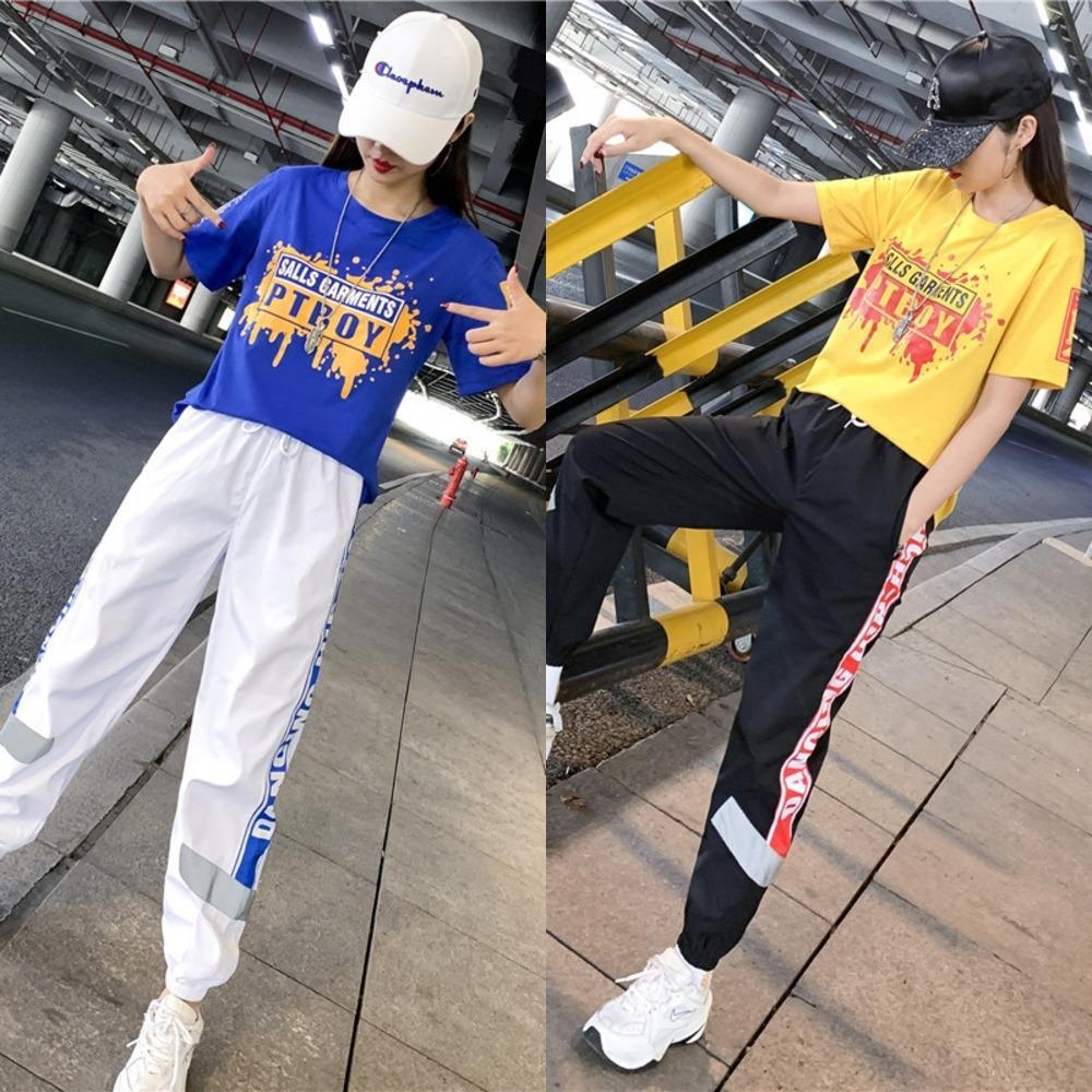 NbTKS Öğrenci kalça tarzı hop takım bahar moda iki parçalı spor spor giyim markası moda kadın 2020 Yeni gevşek rahat kıyafet Casual seti