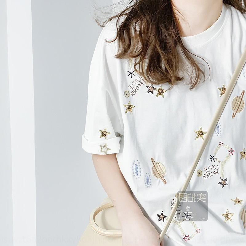 ZbA92 весна Звездное небо мир вышитые бисером потерять случайные белый Корейский футболку Okzsh и летом вокруг шеи короткий рукав сверху пальто женщин T