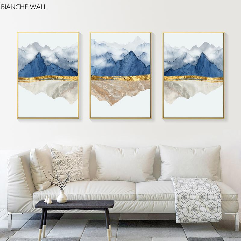 Altın Hattı Yeni Çin Mürekkep Manzara Manzara Soyut Resim Tuval Poster Duvar Sanatı Resim Modern Ev Odası Dekorasyon yazdır