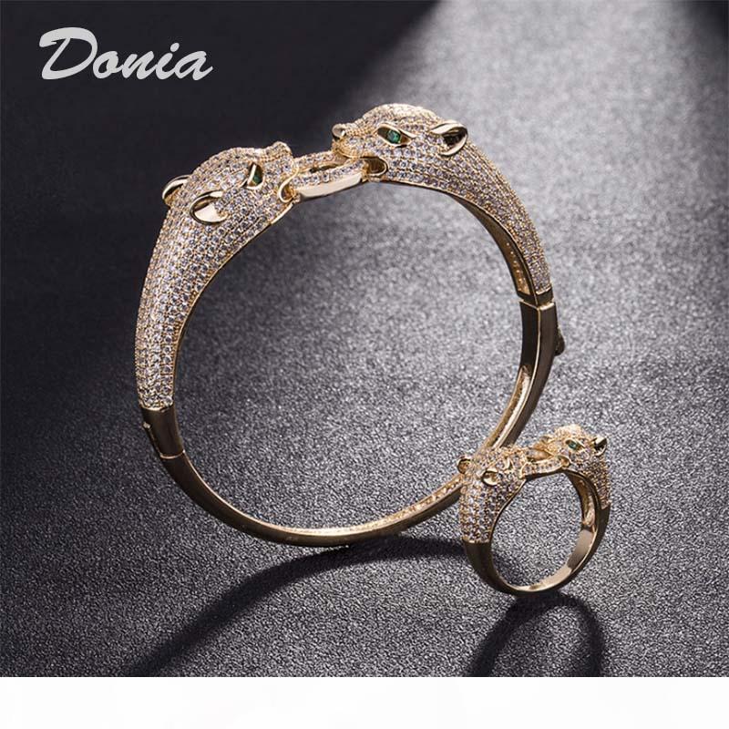 Donia gioielli partito europeo e moda americana di grandi dimensioni micro classico leopardo intarsiati s dell'anello del braccialetto di Zirconia dell'anello del braccialetto delle donne stabilite