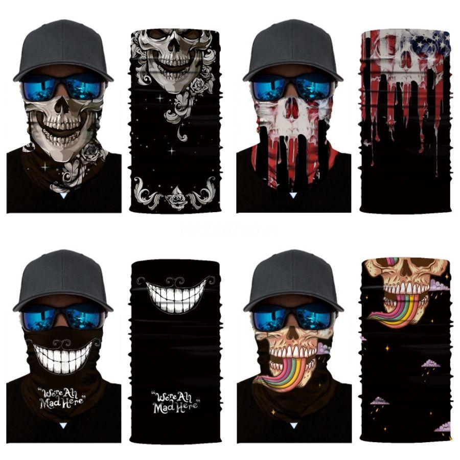 Камуфляж печать Anti-UV пылезащитного Unisex Открытого Спорт Face Er Велоспорт Череп шарф Магия повязки ветрозащитного висячие ухо шея Gaiter # 449