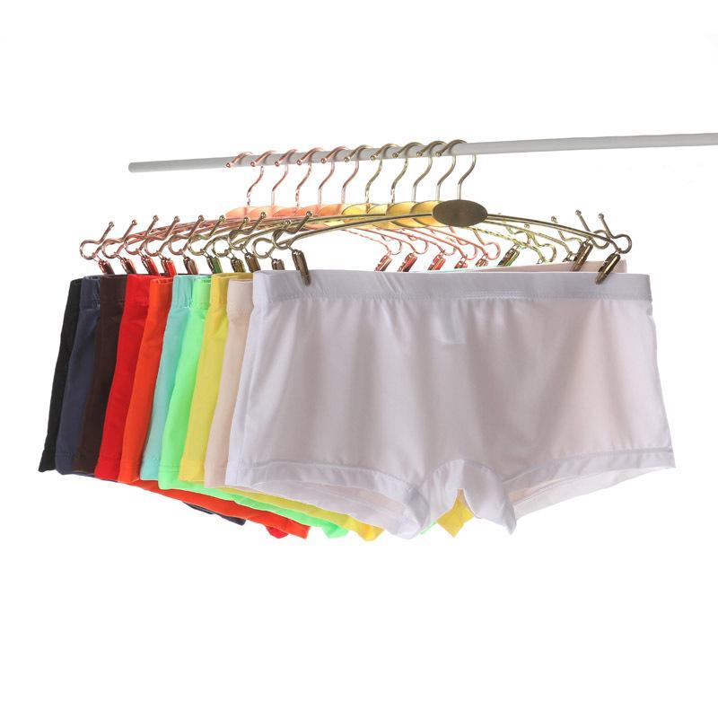 Erkekler M-3XL Şeffaf Seksi Dikişsiz İç Giyim Pantolon Boxershorts 10 Renkler Erkek Orta katlı Mesh Fiş Homme Külot Boxer Şort