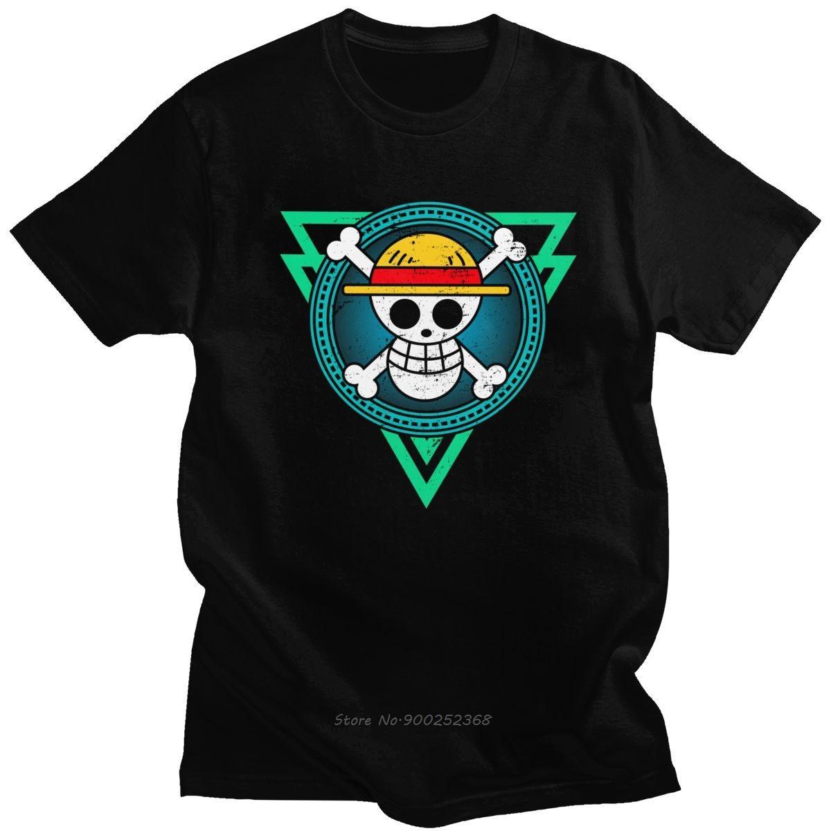 Classique One Piece Anime T-shirt pour les hommes O cou à manches courtes Straw Hat Pirates Skull Casual T-shirt de coton Slim Fit Tee Harajuku