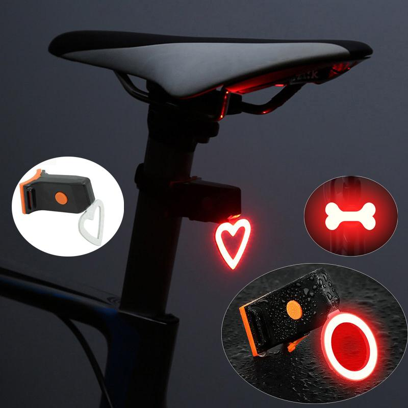 Heart Round shape LED Bike Light USB Charge Bicycle Rear Light Waterproof MTB Taillight Cycling Night Safety Warning Lamp Bike lights