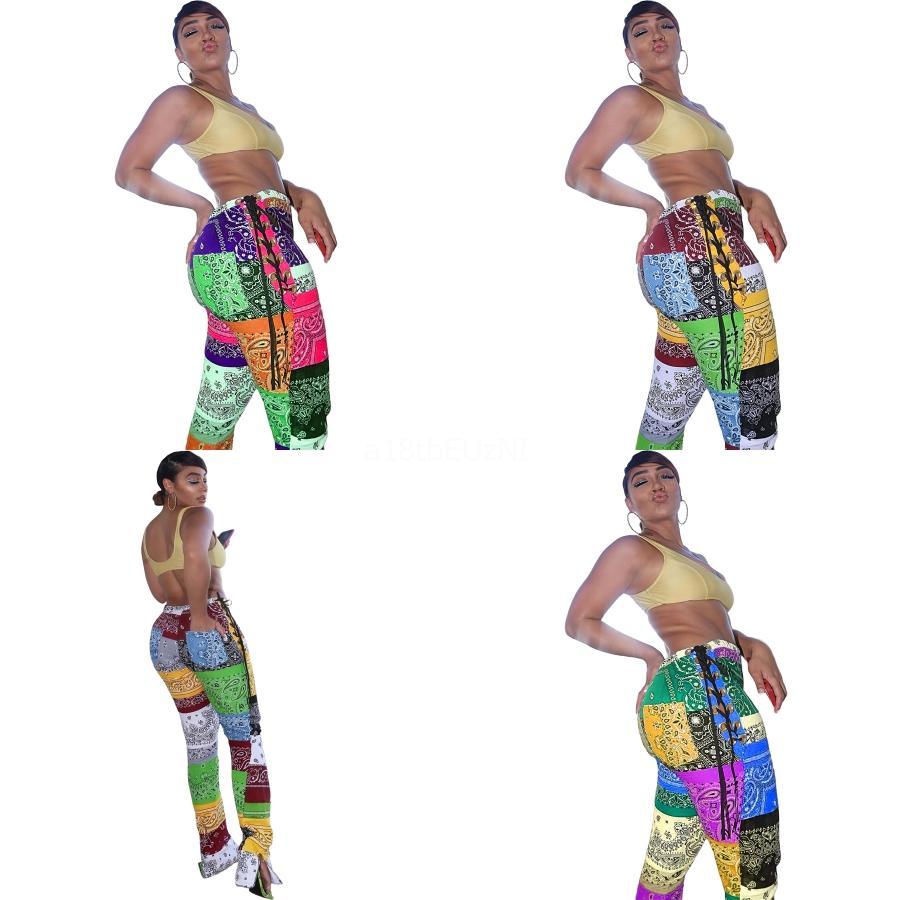 Hi-Tech-Plus Size Schöne Mode Patchwork Paisley Riemchen aufgeteilte Hosen elastische Gamaschen dünne Orescent Farbe Leggings Shi Glanz Leggings Bl # 636