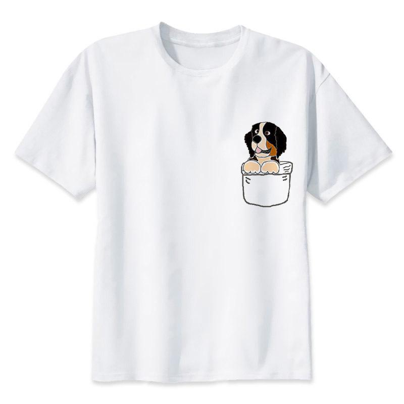 Berner Sennenhund-T-Shirt Männer Sommer Art und Weise T-Shirt mit weißen Druck O-Ansatz beiläufiger Oberseite T-Stücke männliche Männer drucken MRR115