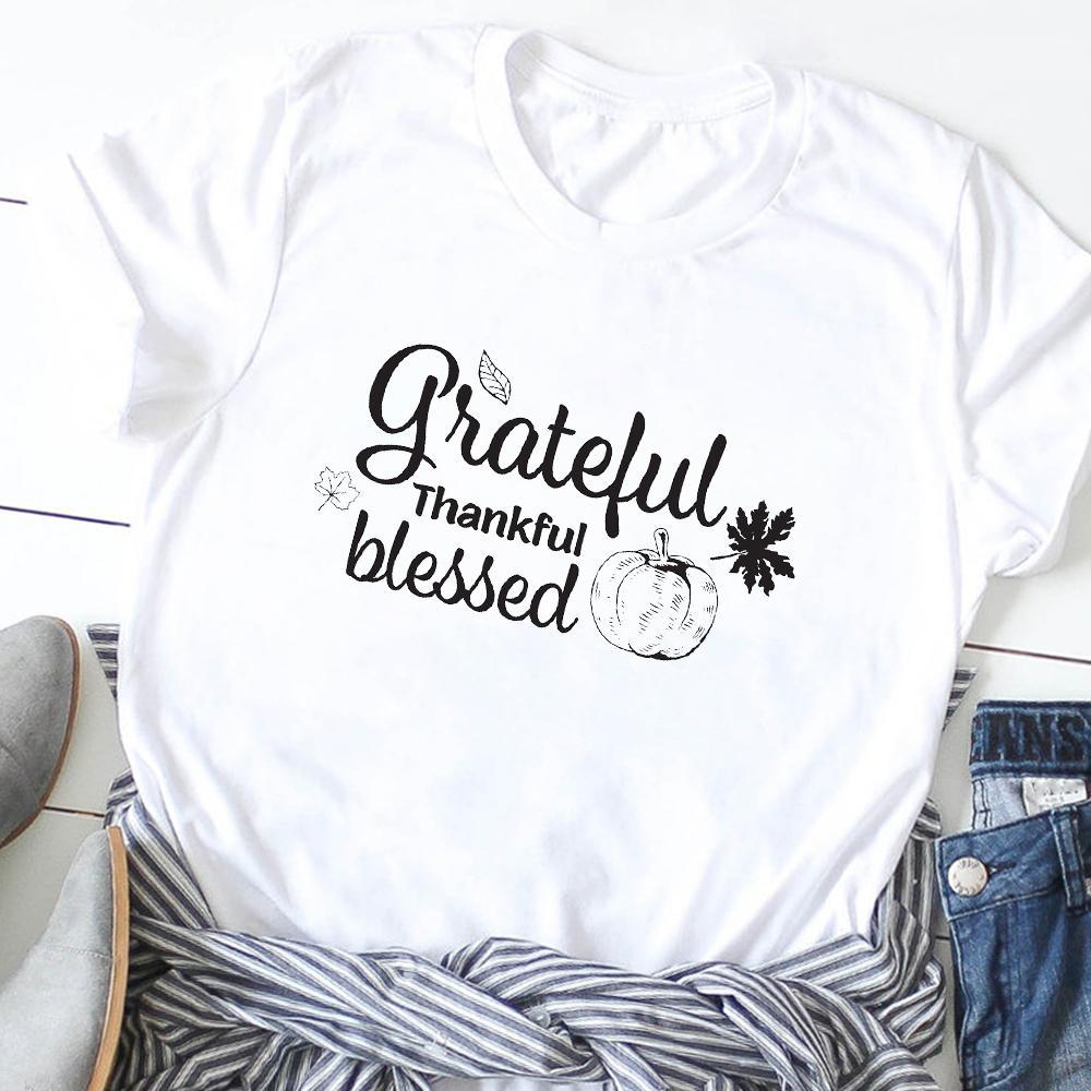 Kadınlar Minnettar Minnettar Kabak Şükran Tişört Tee Gömlek Kadın Tees Giyim Tişörtlü Grafik tişört yazdırın Ne mutlu