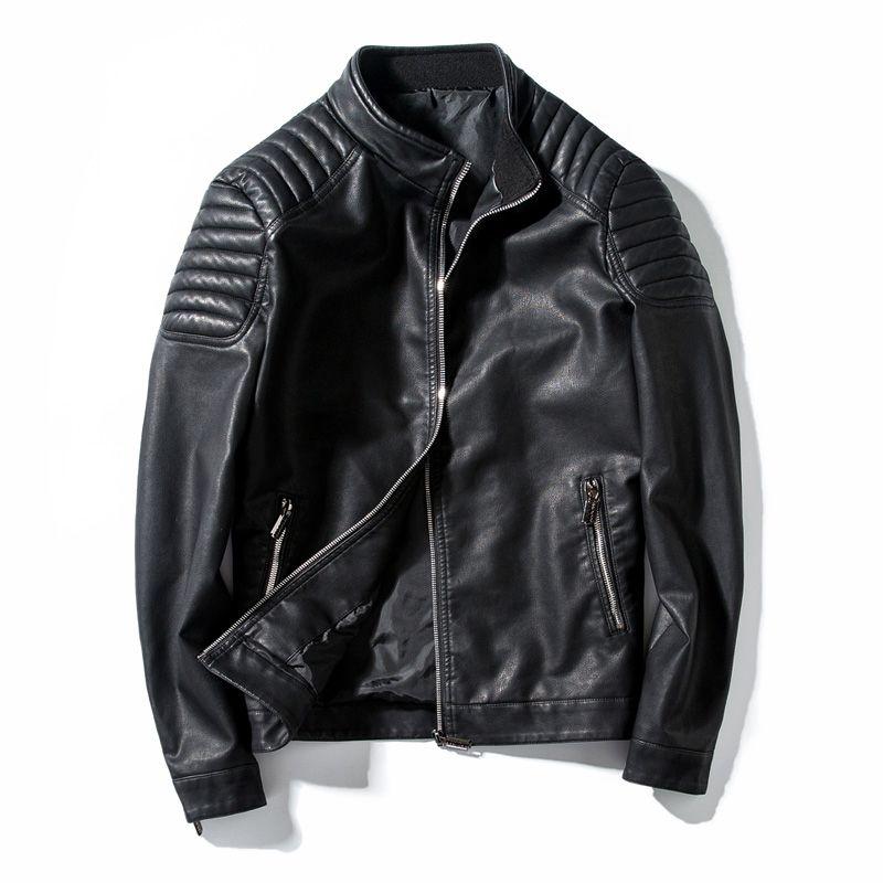 Весна Осень Байкер кожаные куртки Мужские пальто шерсти мотоцикла PU вскользь Slim Fit Outwear Мужской черный Одежда Плюс Размер M-4XL, GA455