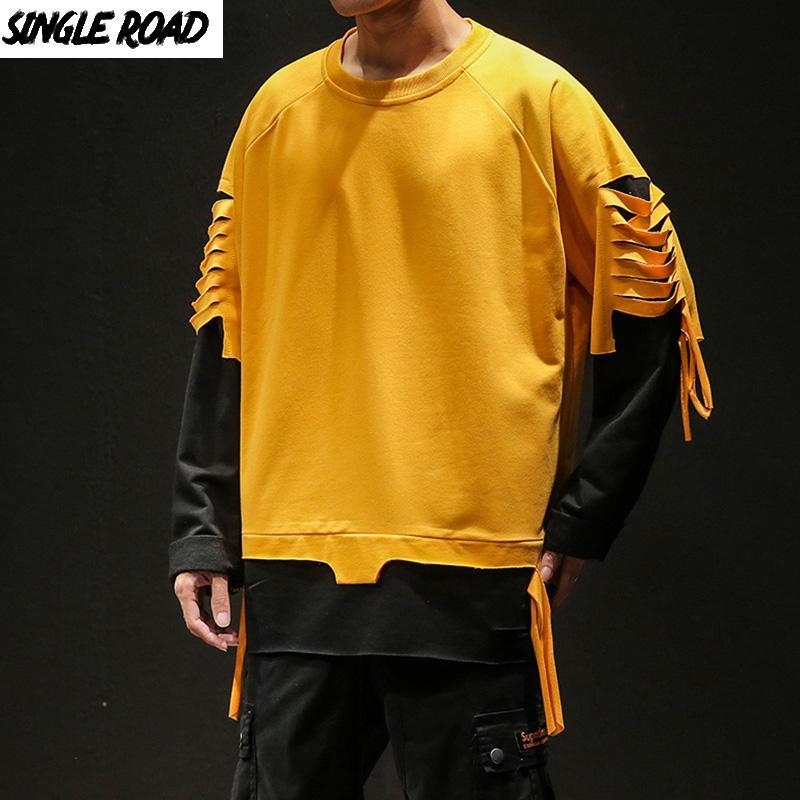 SingleRoad Мужских Crewneck Толстовка Мужчина 2020 Крупногабаритного Harajuku японского Streetwear Hip Hop Ripped Yellow Кофта для мужчин