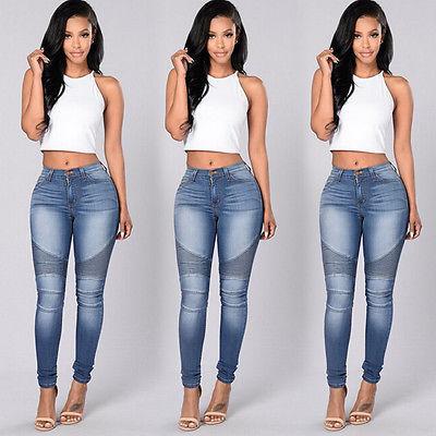 2020 nuevo llega otoño atractivo de las mujeres del dril de algodón pantalones flacos de la alta cintura de los pantalones vaqueros del estiramiento delgado del lápiz Pantalones