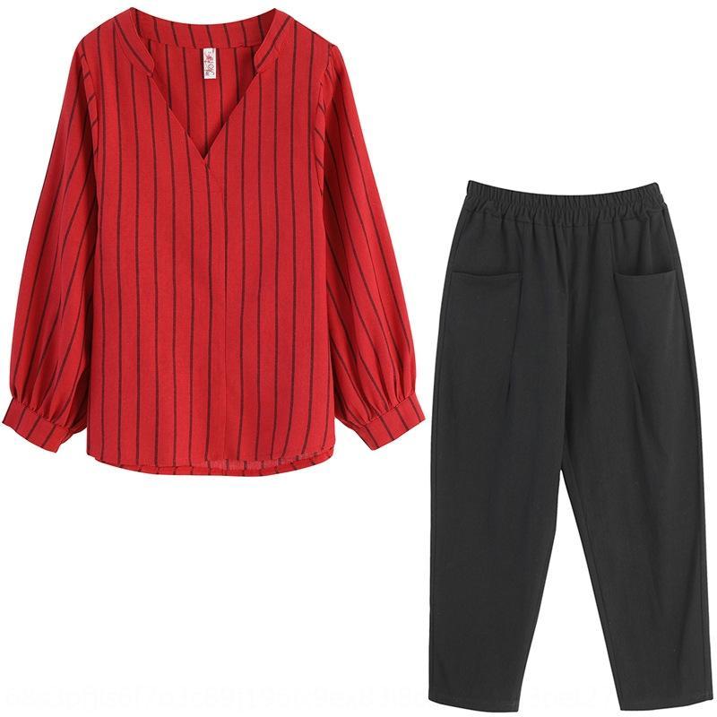 2020 primavera y otoño traje pantalón Top establecen nuevos de algodón con cuello en V y la tapa de la camisa de lino grandes pantalones de harén de mujeres tamaño del juego de wgIow