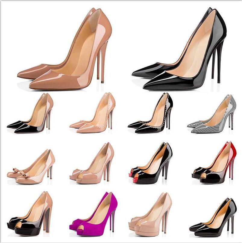 pompe 2020 tassa libera di trasporto nuovo stile sexy Lady nudo in vernice punto di punta tacchi alti scarpe stivali 120 millimetri 100 millimetri in vera pelle