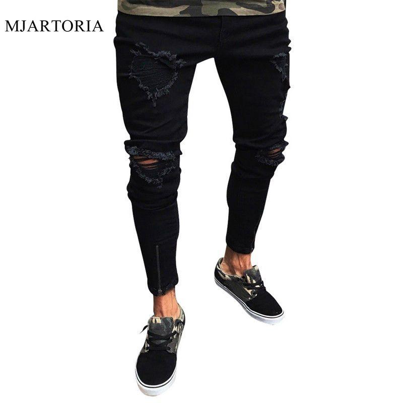 MJARTORIA Yaz 2020 Erkek Tahrip Delik Pamuk Stretch Denim Jeans Homme Diz Açık Sıkıntılı Slim Fit Pantolon Ripped