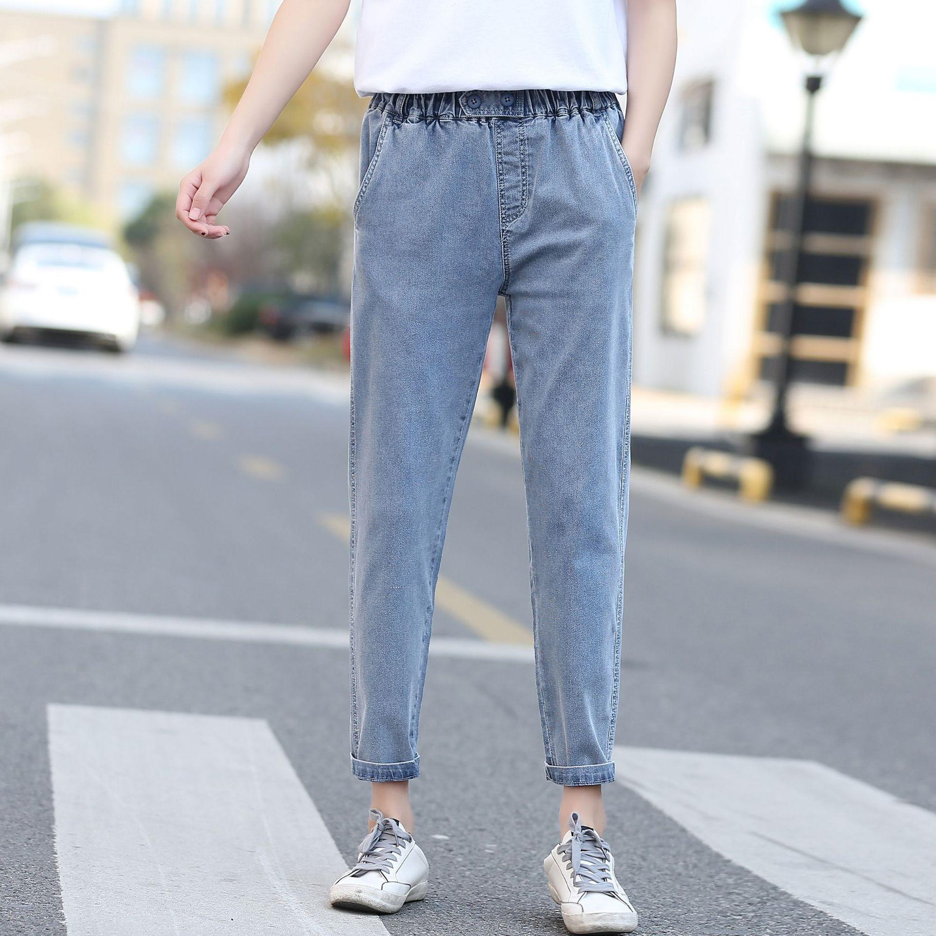 roupas ja9jD bQMEr gordura leggings apertado apertados New coreano calças estilo 200kg MM emagrecimento denim harém calças casuais da Primavera, mais mulheres do tamanho 7717