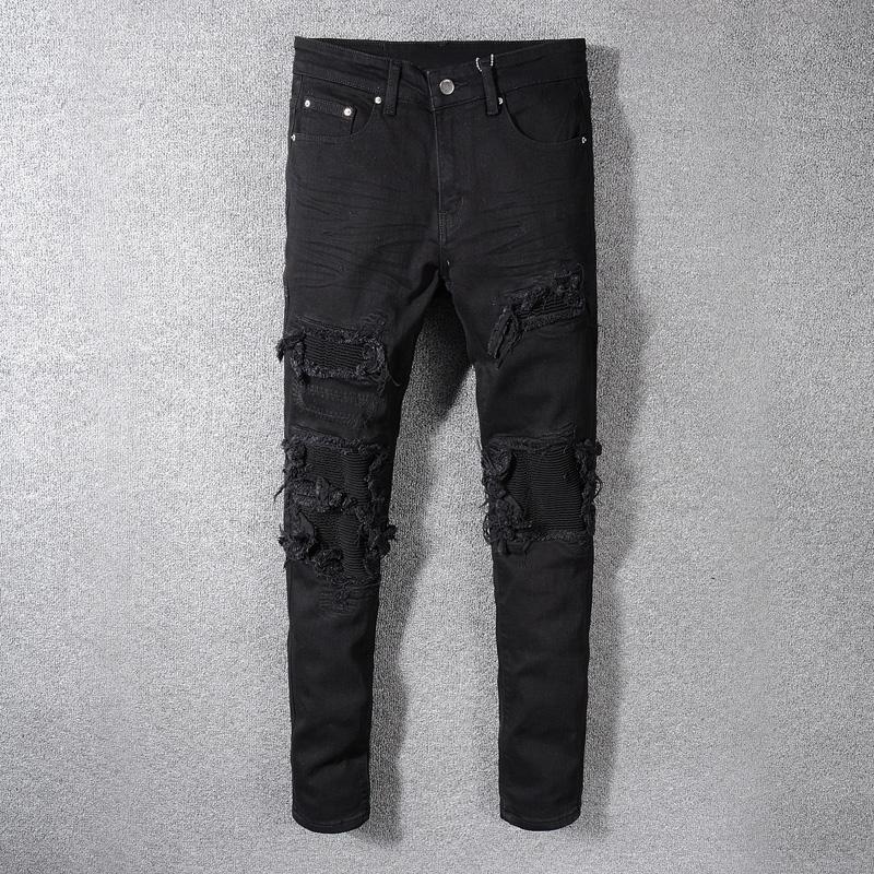 Mode Streetwear Hommes Jeans Noir Patchwork Denim Destroyed Crayon Pantalons Jeans Ripped pour les hommes Hip Hop Skinny hombre
