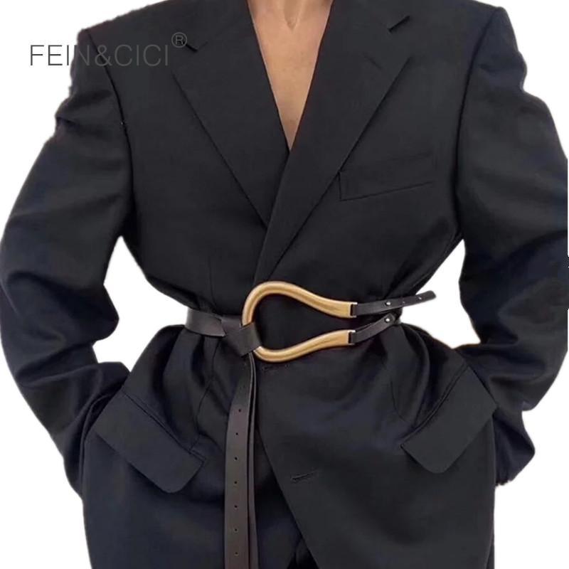 100% cuir véritable double ceintures de luxe métal u tu boucle ceinture femme filles rétro vintage grande ceinture pour manteau jeans noir blanc lj200923