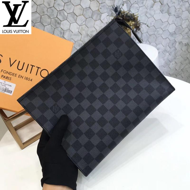 Black plaid M47542 (5B1F) MEN REAL LEATHER LONG WALLET CHAIN WALLETS COMPACT PURSE CLUTCHES EVENING KEY CARD HOLDERS