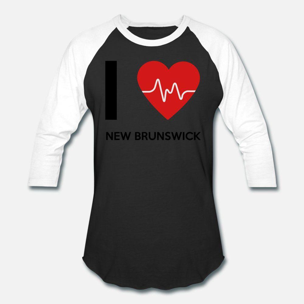 tee shirt I love New Brunswick uomini della maglietta personalizzata rotonda Collare in forma grafica della moda Primavera Autunno camicia sottile